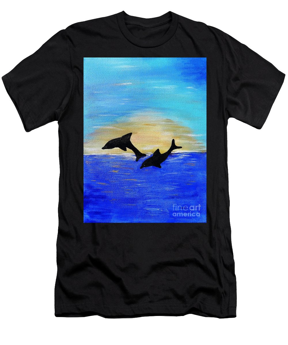 Dolphins Men's T-Shirt (Athletic Fit) featuring the painting Joyful In Hope by Karen Jane Jones
