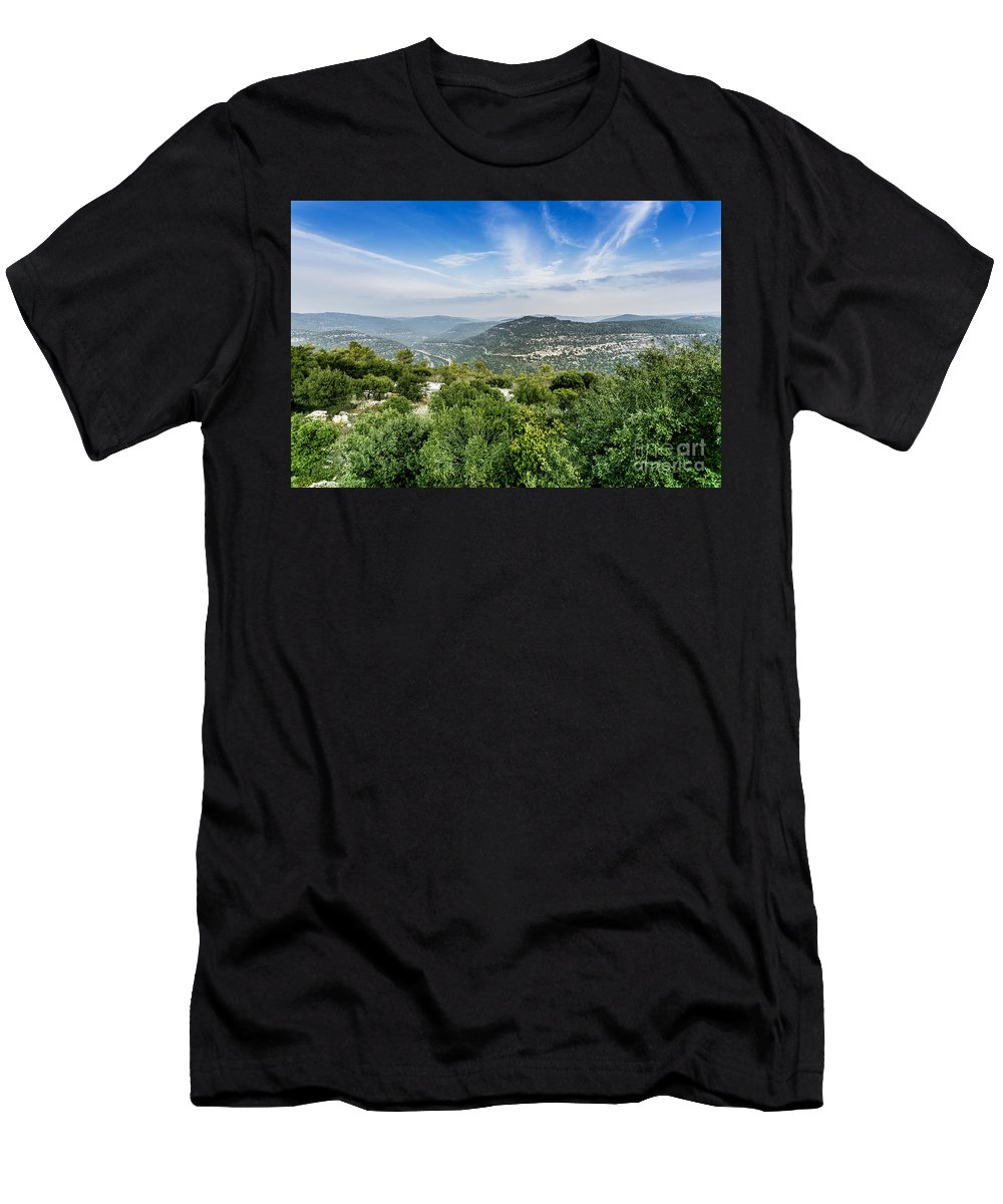 Israel Men's T-Shirt (Athletic Fit) featuring the photograph Judean Foothills Landscape by Sv