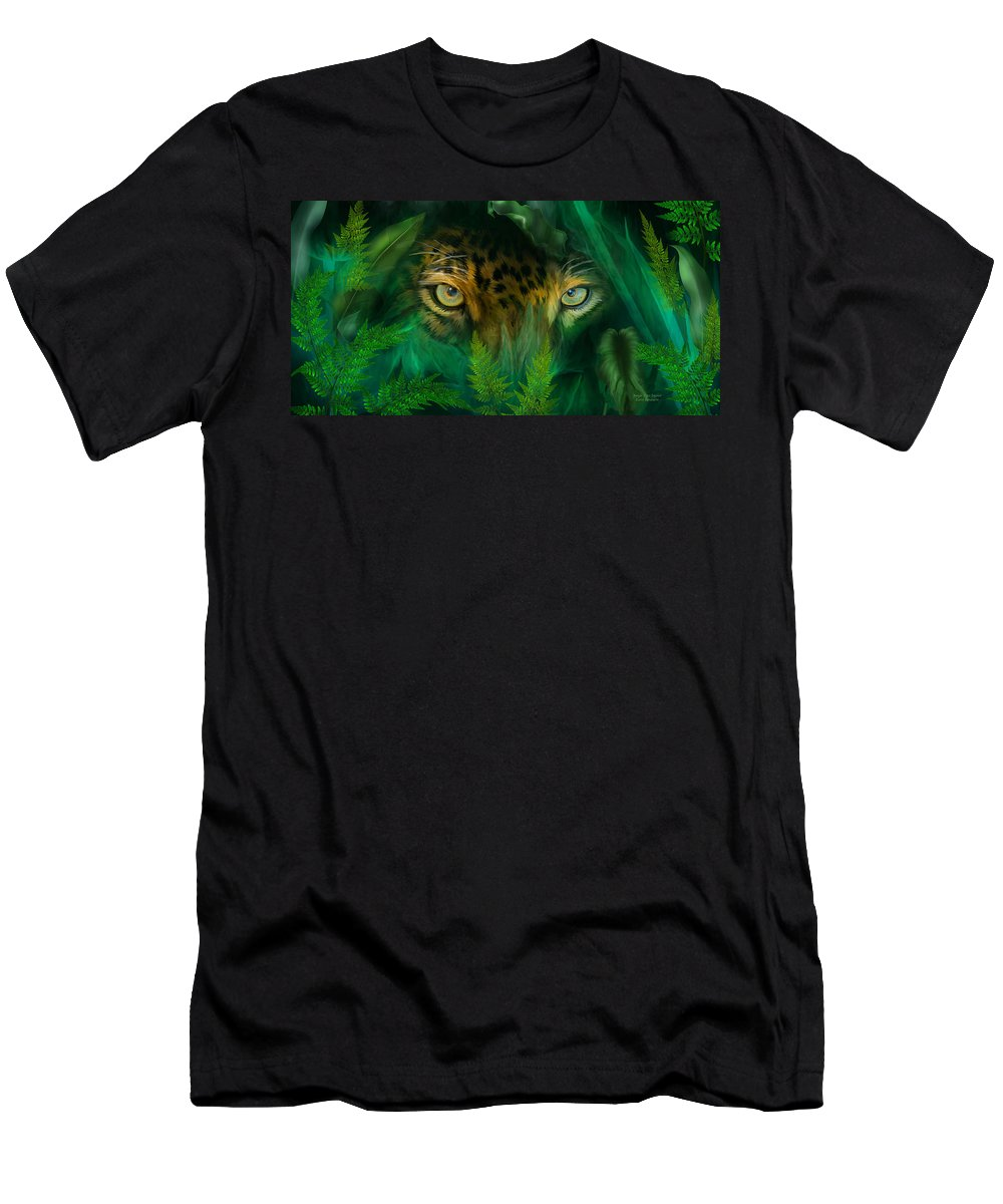 Jaguar Men's T-Shirt (Athletic Fit) featuring the mixed media Jungle Eyes - Jaguar by Carol Cavalaris