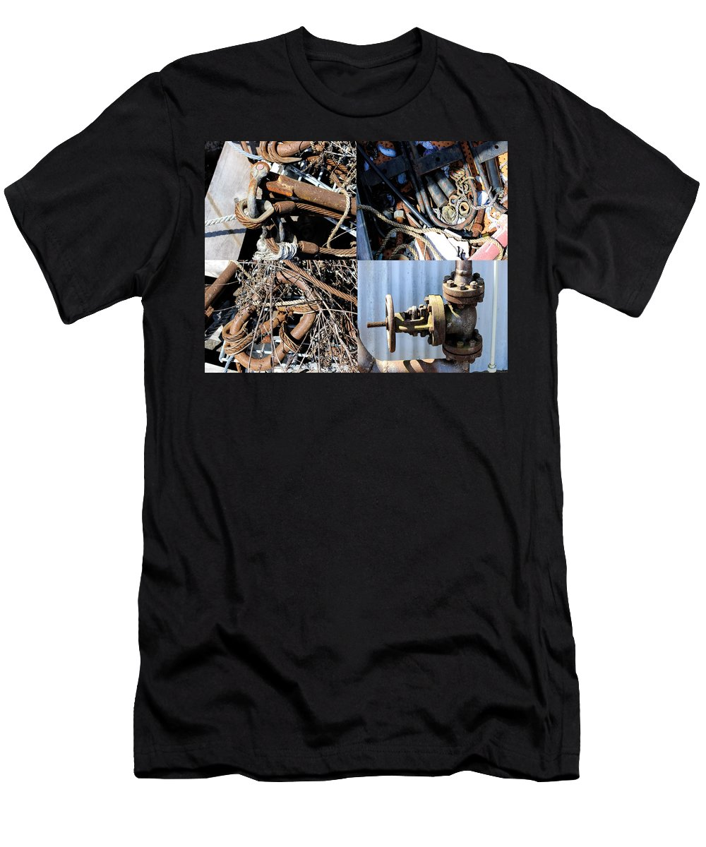 Industrial Art Men's T-Shirt (Athletic Fit) featuring the digital art Junk Collage by Cathy Anderson
