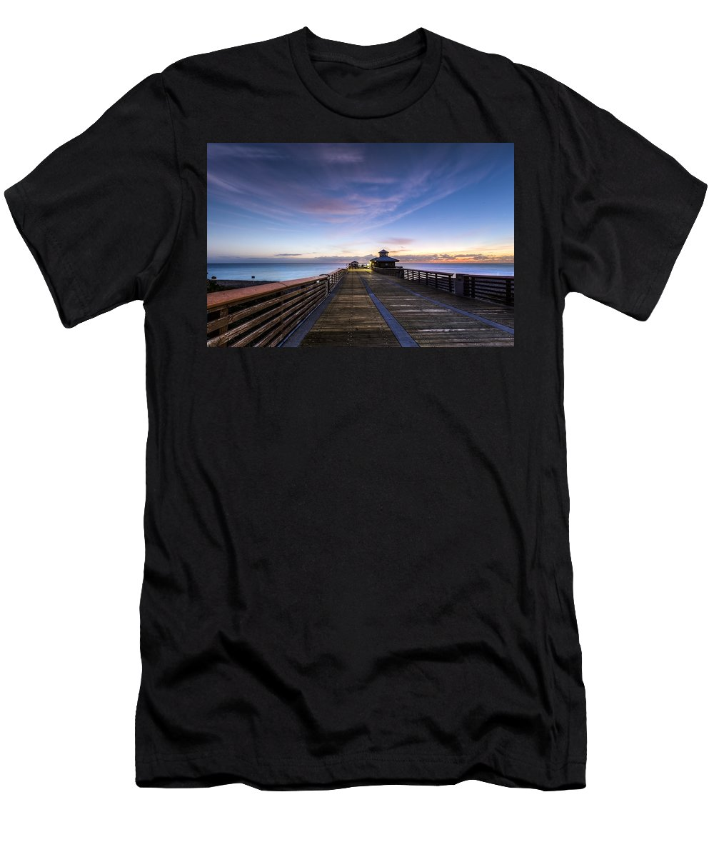 Clouds Men's T-Shirt (Athletic Fit) featuring the photograph Juno Beach Pier by Debra and Dave Vanderlaan