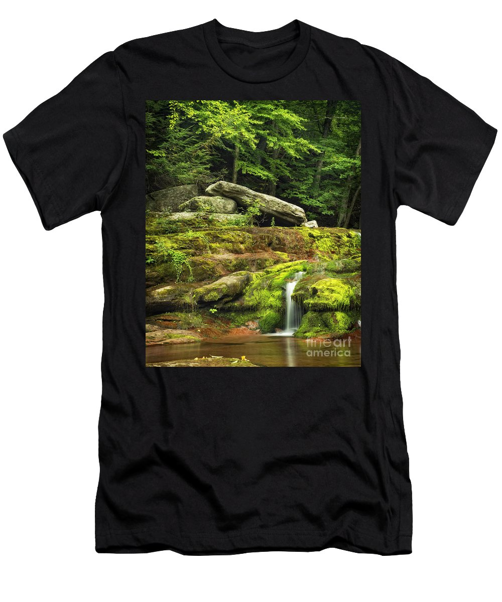 Kaaterskill Men's T-Shirt (Athletic Fit) featuring the photograph Just A Trickle by Claudia Kuhn