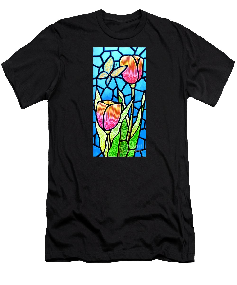 Butterflies Men's T-Shirt (Athletic Fit) featuring the painting Just Visiting by Jim Harris