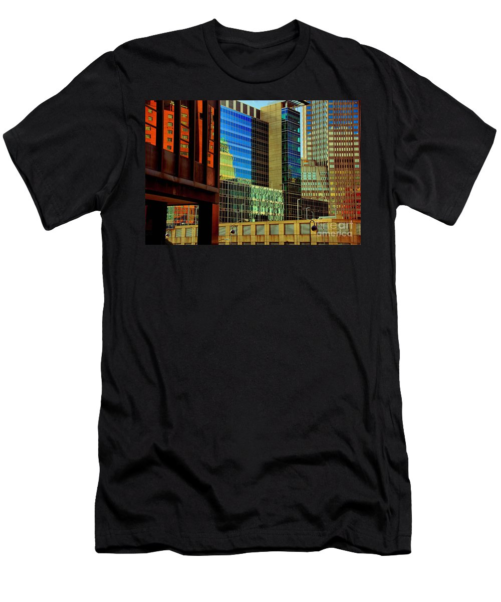Building Men's T-Shirt (Athletic Fit) featuring the photograph Juxtaposition Of Pittsburgh Buildings by Amy Cicconi