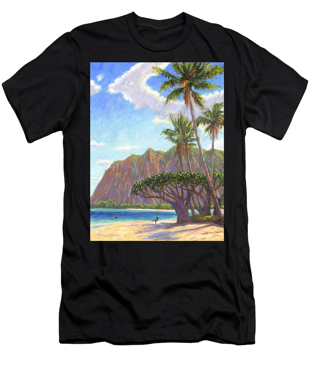 Kaaawa Men's T-Shirt (Athletic Fit) featuring the painting Kaaawa Beach - Oahu by Steve Simon