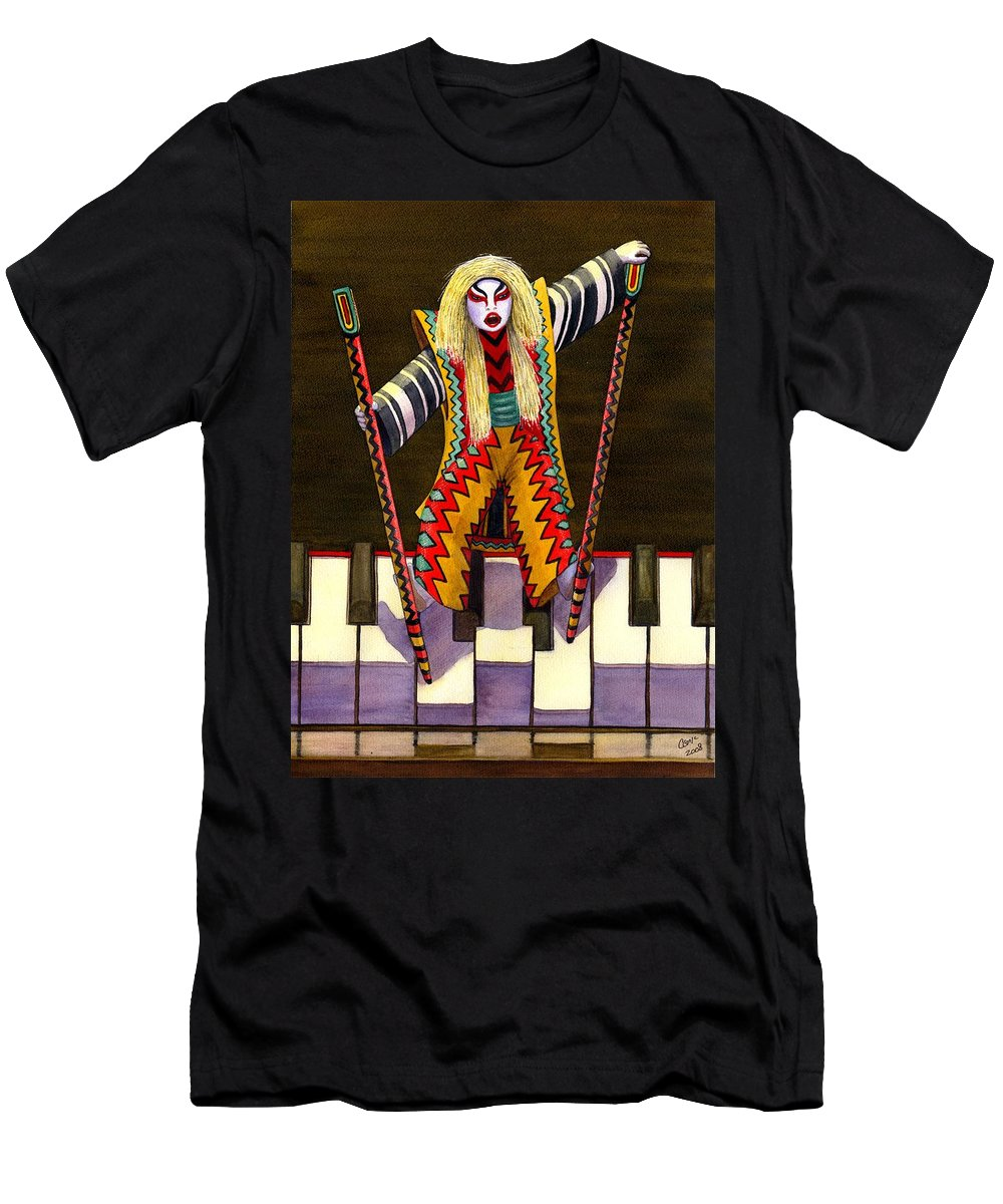 Kabuki T-Shirt featuring the painting Kabuki Chopsticks 2 by Catherine G McElroy