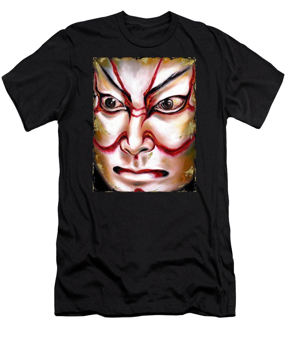 Kabuki Men's T-Shirt (Athletic Fit) featuring the painting Kabuki One by Hiroko Sakai