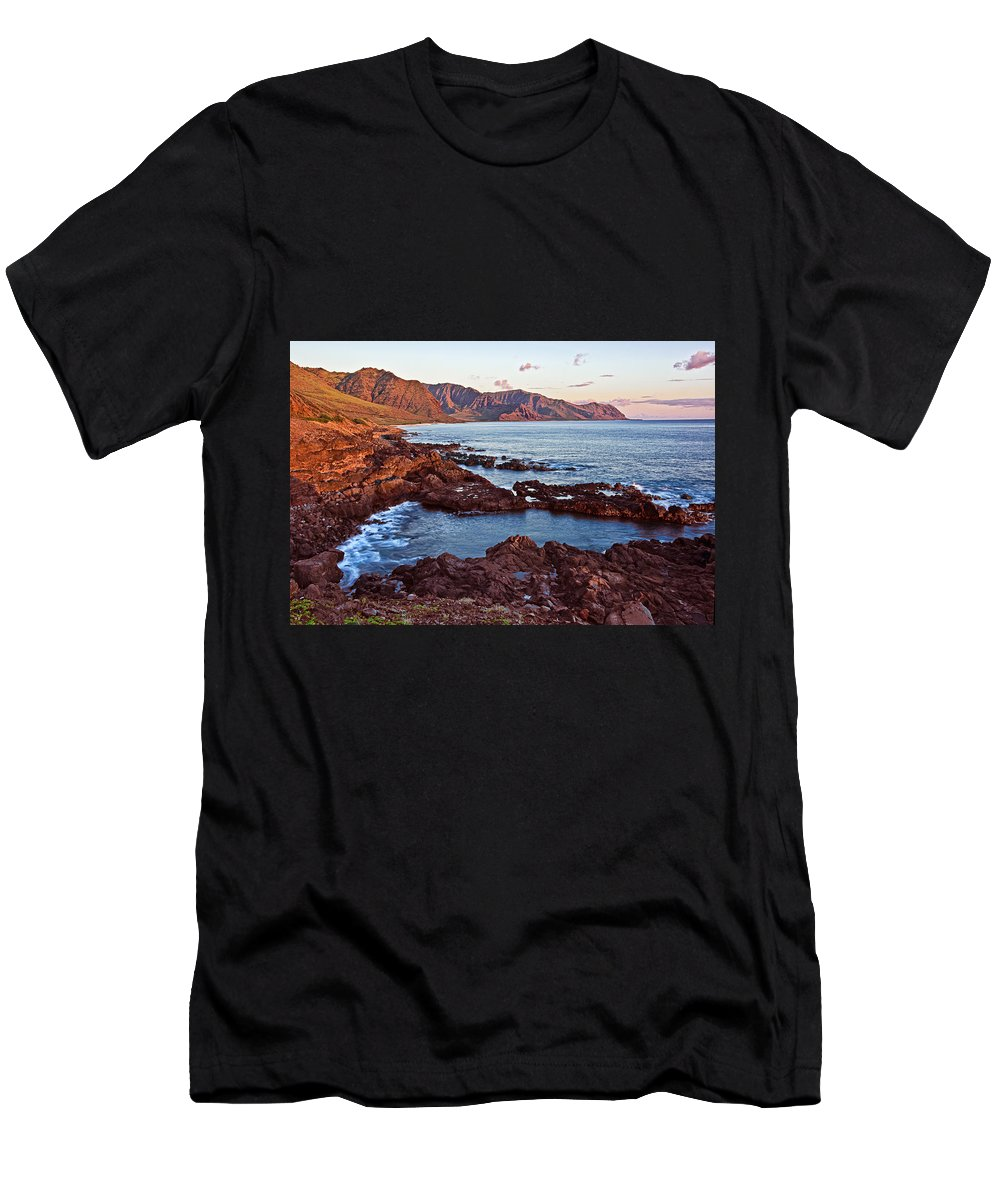 Landscape Men's T-Shirt (Athletic Fit) featuring the photograph Ka'ena Point Oahu Sunset by Marcia Colelli