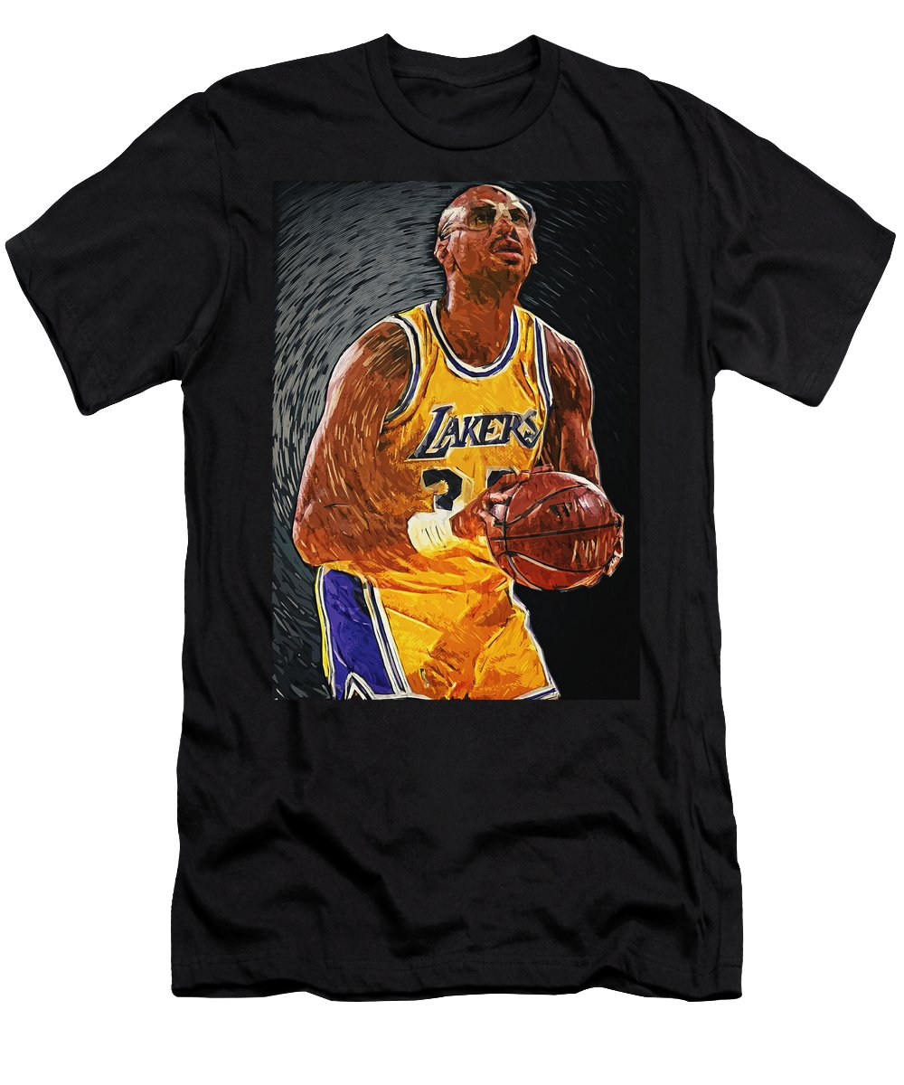 Kareem Abdul Jabbar Men's T-Shirt (Athletic Fit) featuring the painting Kareem Abdul-jabbar by Zapista