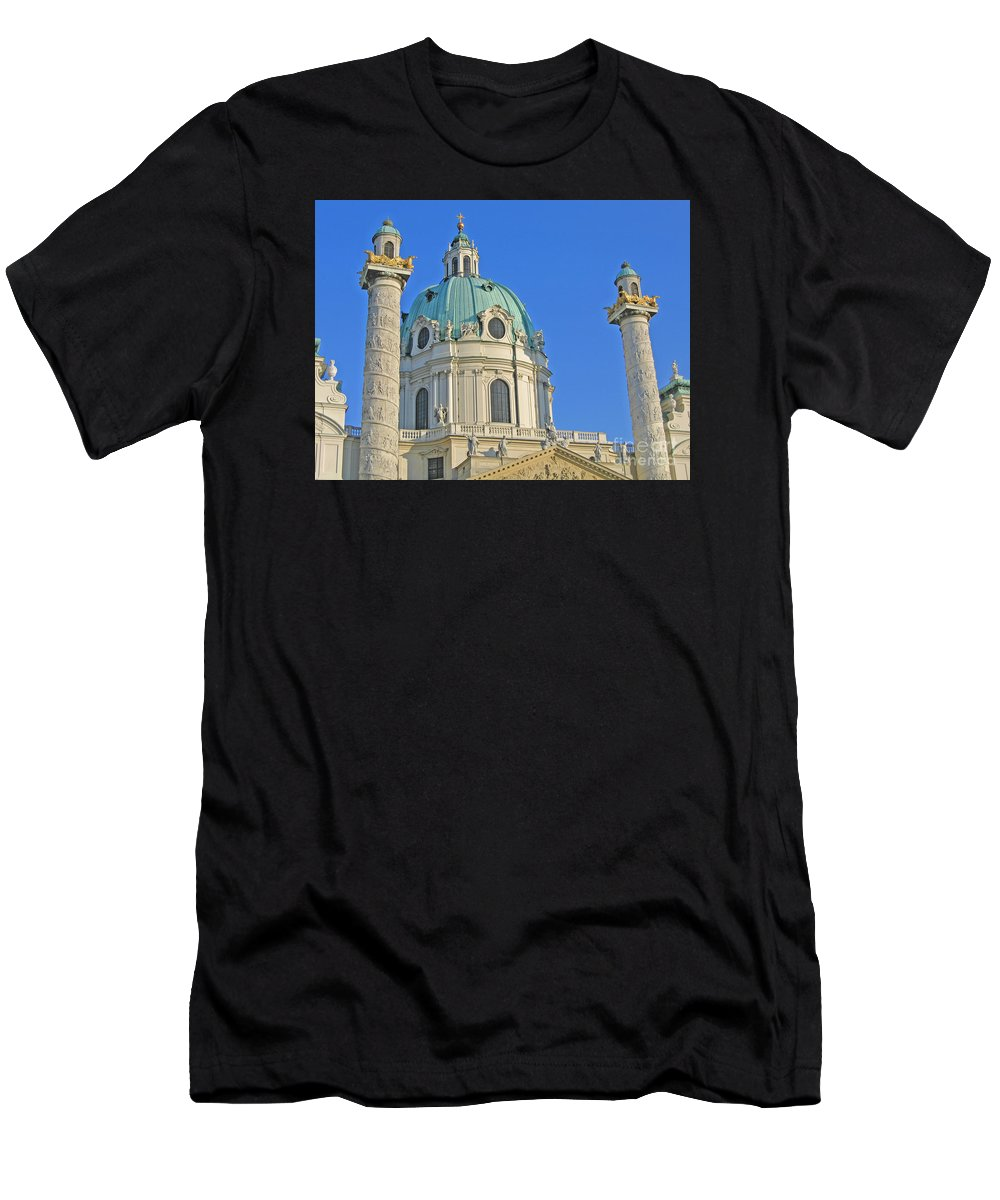 Vienna Men's T-Shirt (Athletic Fit) featuring the photograph Karlskirche - Vienna by Ann Horn