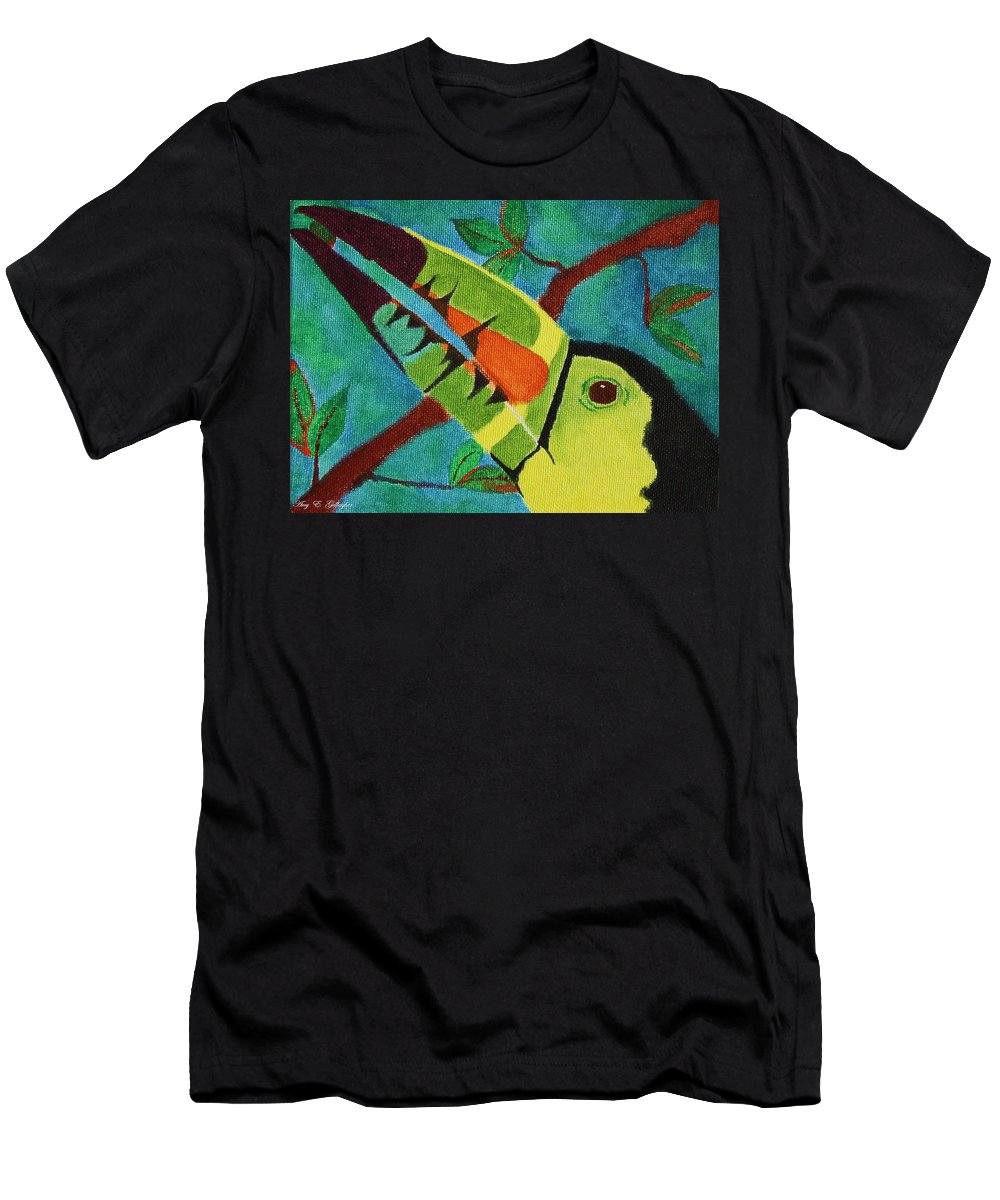 Keel-billed Toucan Men's T-Shirt (Athletic Fit) featuring the painting Keel-billed Toucan by Amy Gallagher