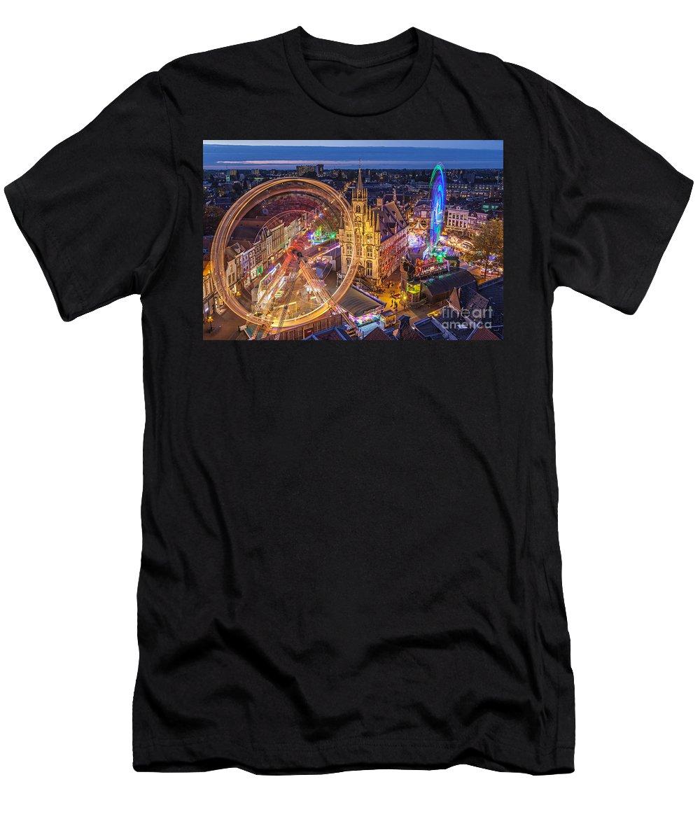 Gouda Men's T-Shirt (Athletic Fit) featuring the photograph Kermis In Gouda by Casper Cammeraat