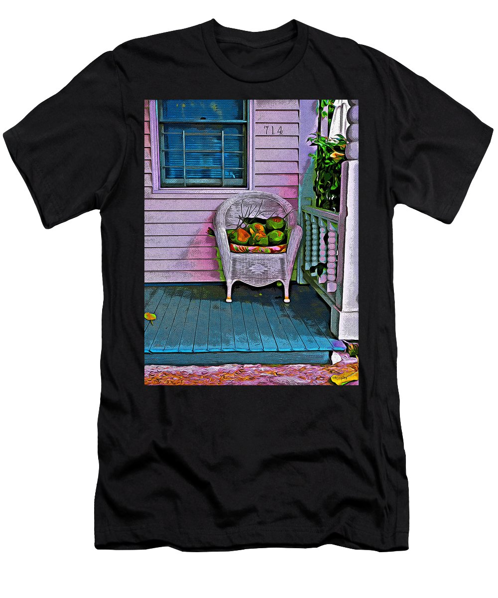 Key West Fl Men's T-Shirt (Athletic Fit) featuring the photograph Key West Coconuts - Colorful House Porch by Rebecca Korpita