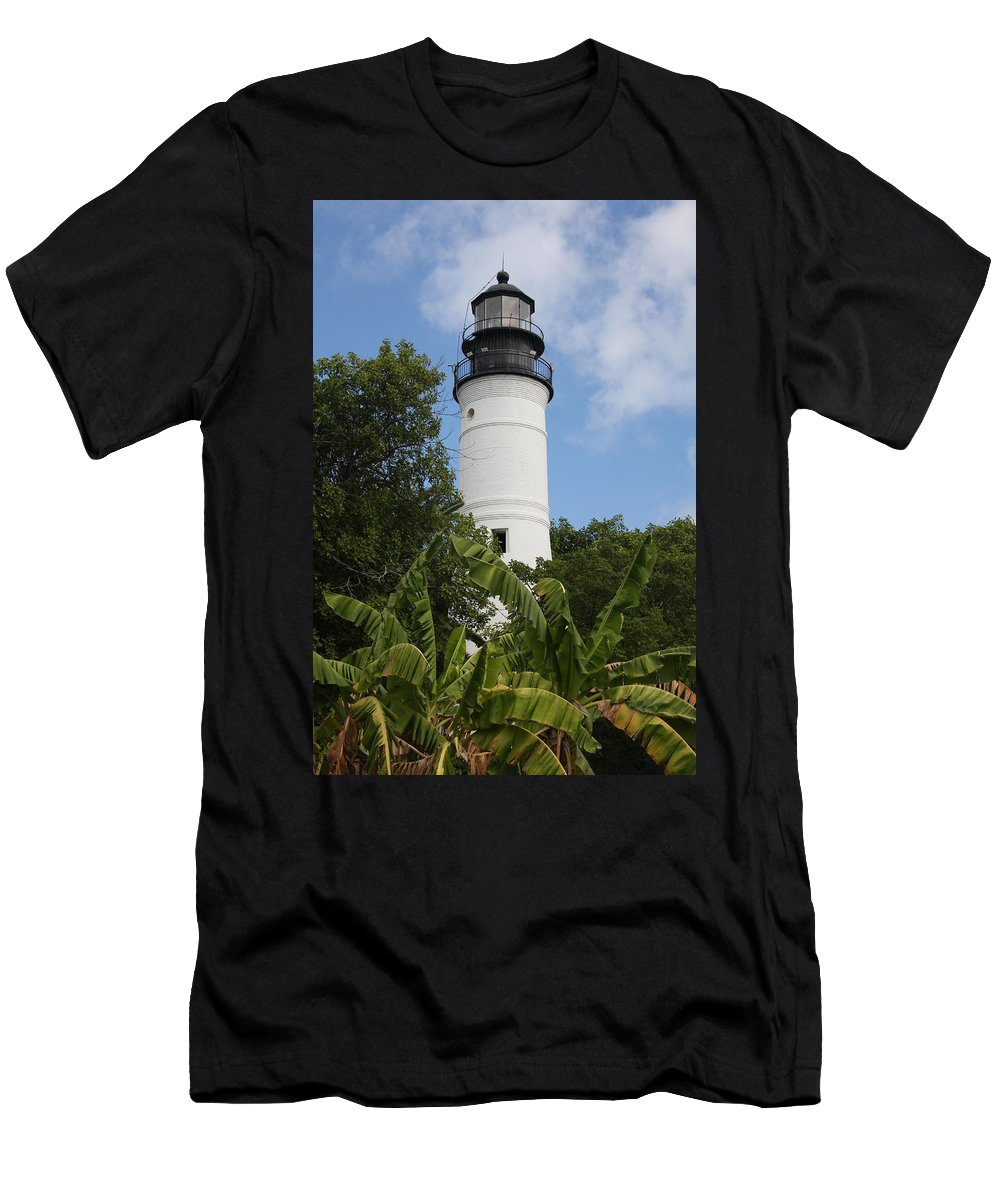 Ligthouse Men's T-Shirt (Athletic Fit) featuring the photograph Key West Lighthouse by Christiane Schulze Art And Photography