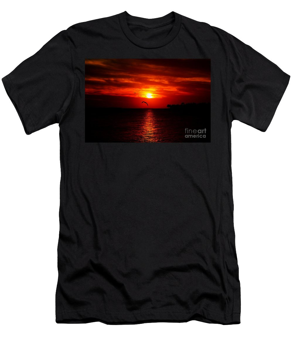 Sunset Men's T-Shirt (Athletic Fit) featuring the photograph Key West Sunset by David Rucker