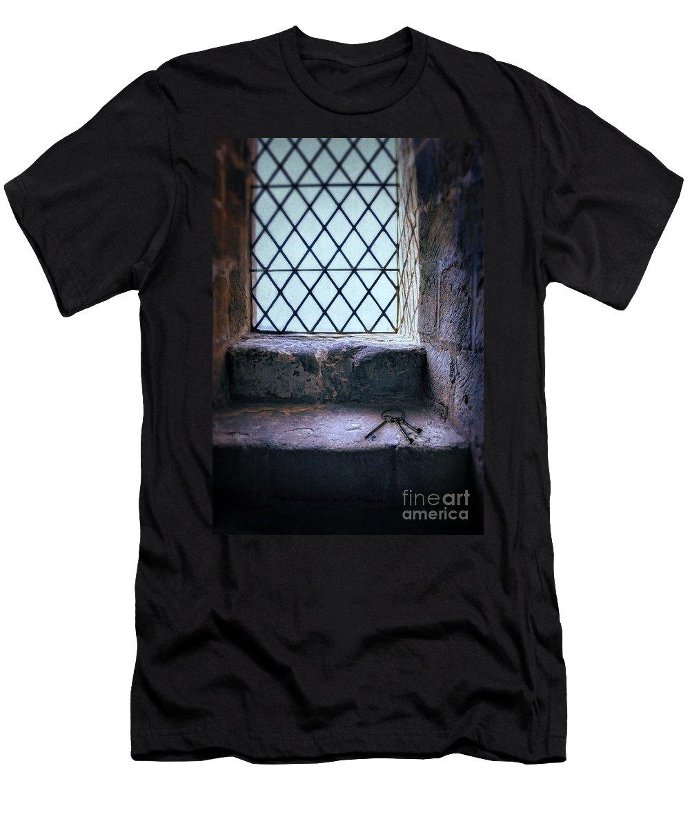 Window Men's T-Shirt (Athletic Fit) featuring the photograph Keys On Stone Windowsill by Jill Battaglia