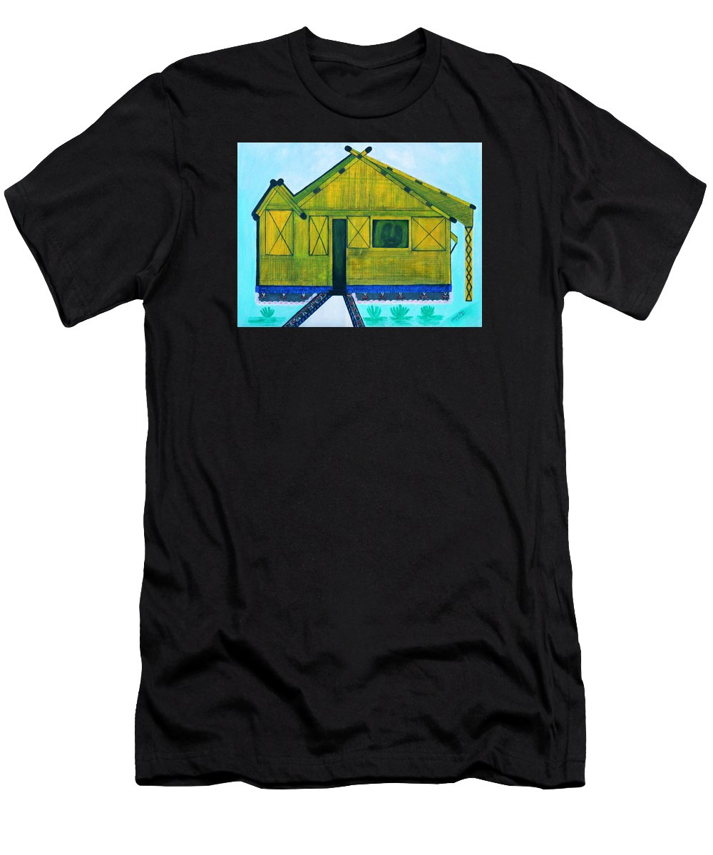 Designers Print Men's T-Shirt (Athletic Fit) featuring the painting Kiddie House by Lorna Maza