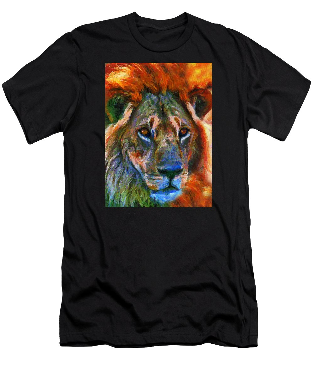 Lion Men's T-Shirt (Athletic Fit) featuring the mixed media King Of The Wilderness by Georgiana Romanovna