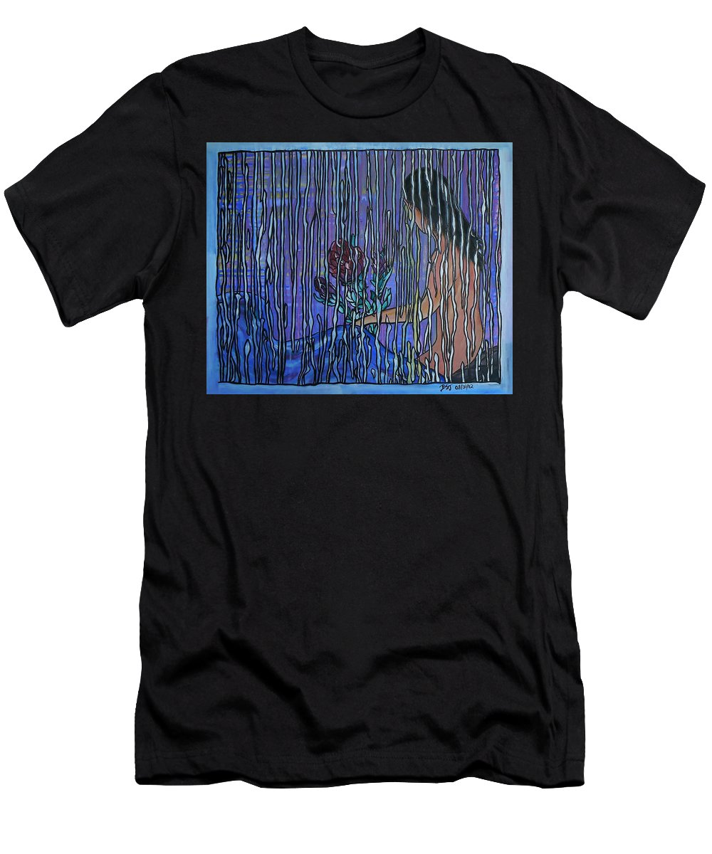 Painting Men's T-Shirt (Athletic Fit) featuring the painting Kissing Rain by Barbara St Jean