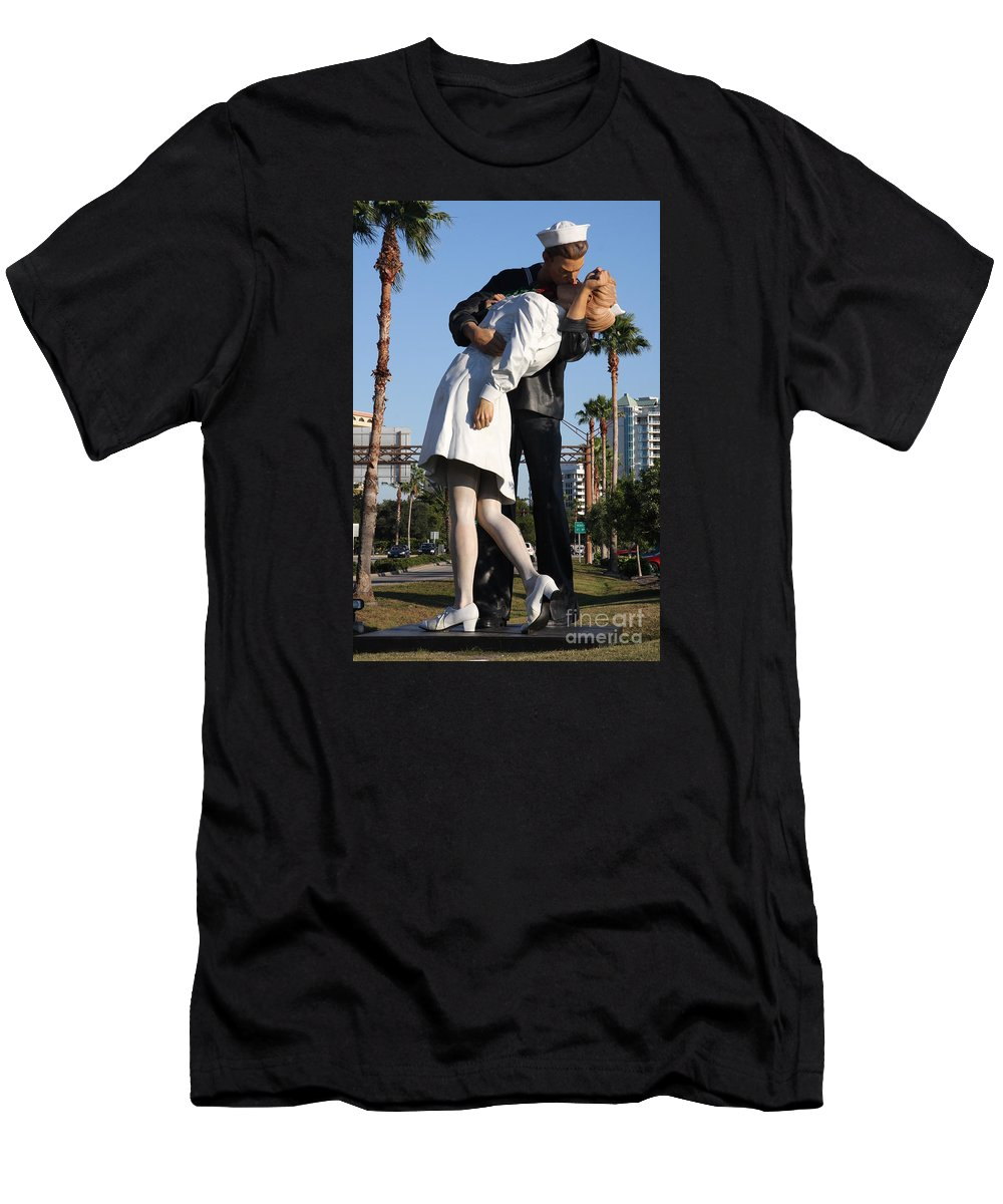 Art Men's T-Shirt (Athletic Fit) featuring the photograph Kissing Sailor - The Kiss - Sarasota by Christiane Schulze Art And Photography