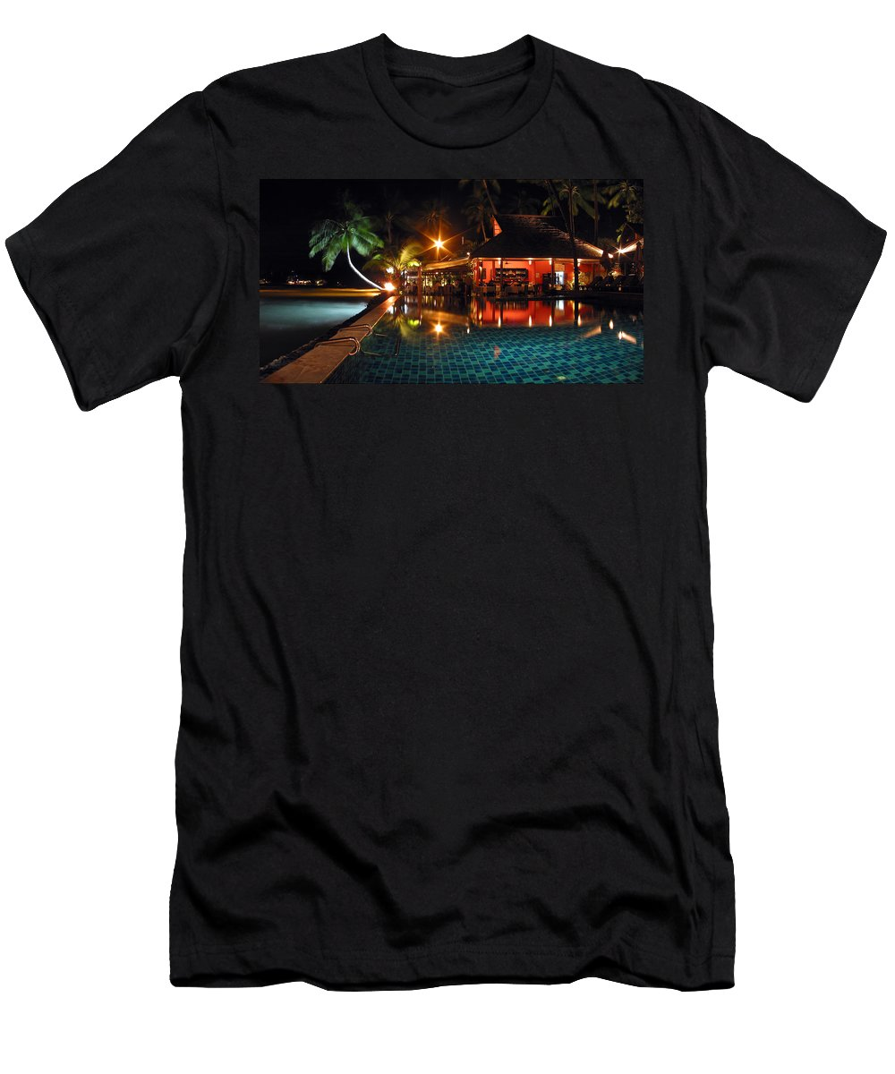 3scape Men's T-Shirt (Athletic Fit) featuring the photograph Koh Samui Beach Resort by Adam Romanowicz