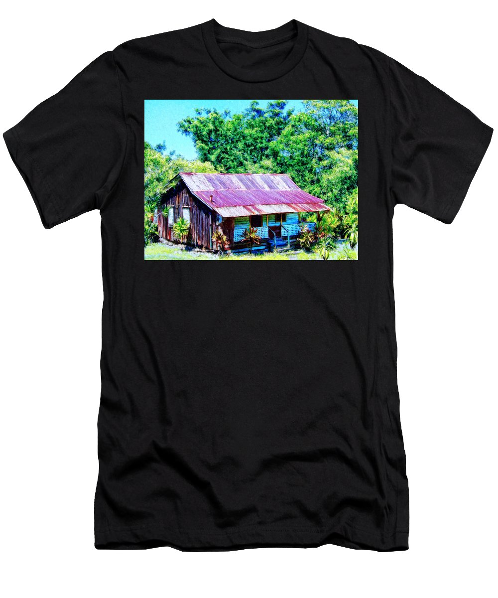 Kona Coffee Shack Men's T-Shirt (Athletic Fit) featuring the painting Kona Coffee Shack by Dominic Piperata