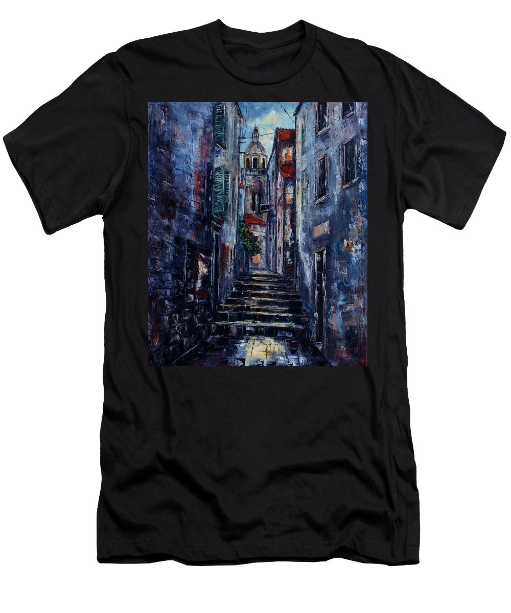 Architecture Men's T-Shirt (Athletic Fit) featuring the painting Korcula - Old Town - Croatia by Miroslav Stojkovic - Miro