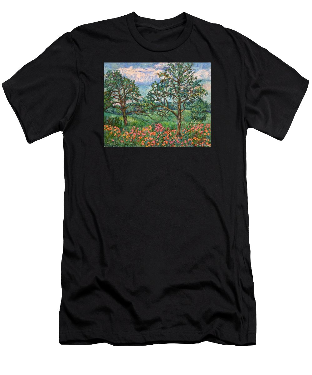 Landscape Men's T-Shirt (Athletic Fit) featuring the painting Kraft Avenue In Blacksburg by Kendall Kessler