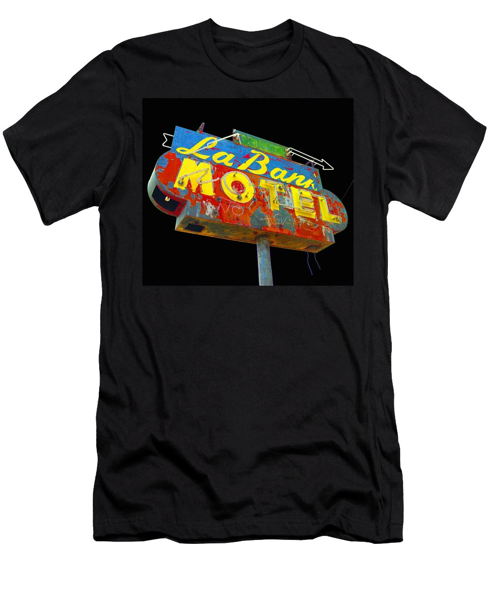 Mid Century Men's T-Shirt (Athletic Fit) featuring the photograph La Bank Motel - Black by Larry Hunter