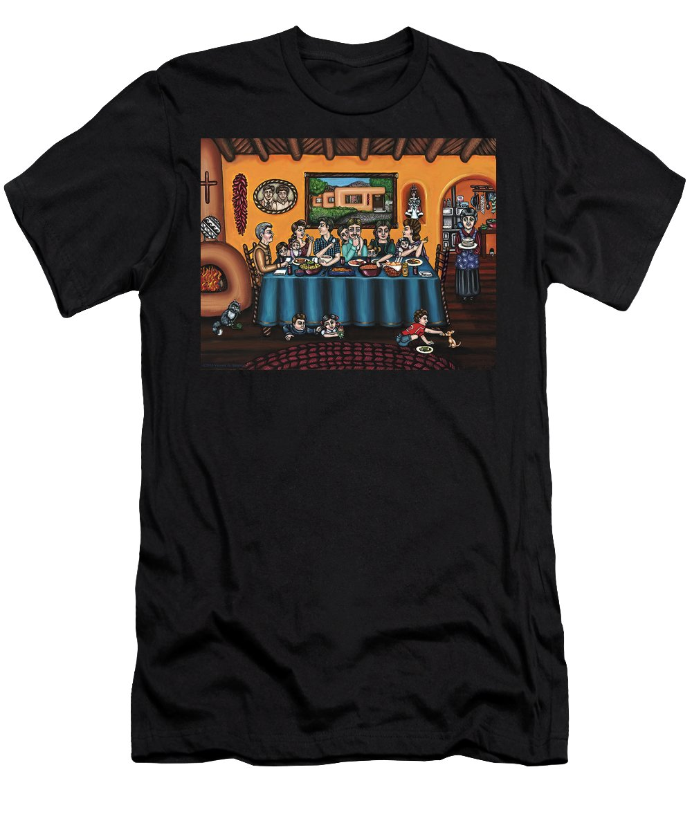 Hispanic Art Men's T-Shirt (Athletic Fit) featuring the painting La Familia Or The Family by Victoria De Almeida