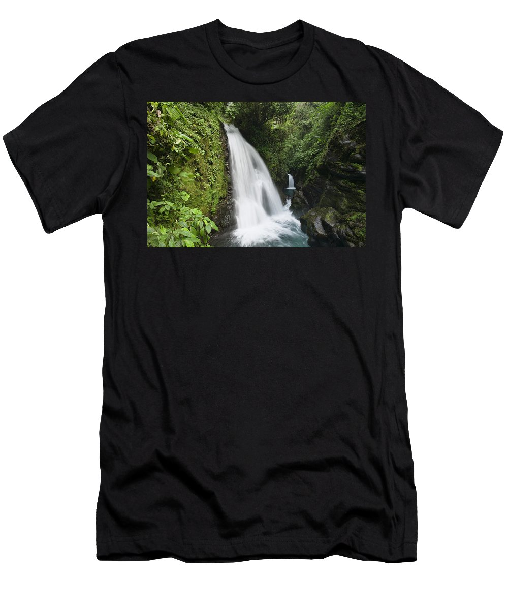 Feb0514 Men's T-Shirt (Athletic Fit) featuring the photograph La Paz Waterfalls In Rainforest Costa by Konrad Wothe