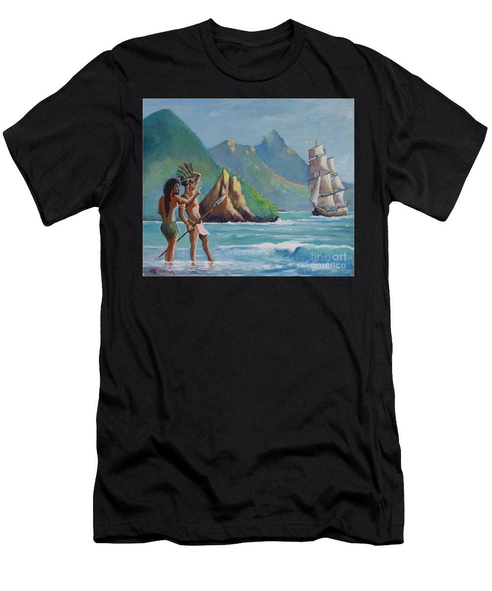 Sea Men's T-Shirt (Athletic Fit) featuring the painting La Rencontre De Deux Mondes by Jean Pierre Bergoeing
