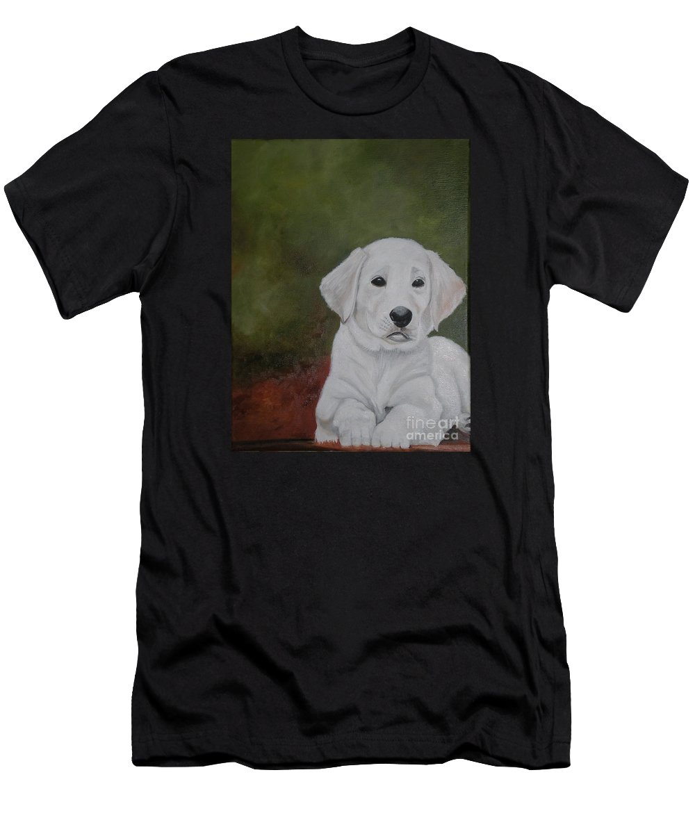 Dog- Labrador Dog Men's T-Shirt (Athletic Fit) featuring the painting Labrador by Graciela Castro