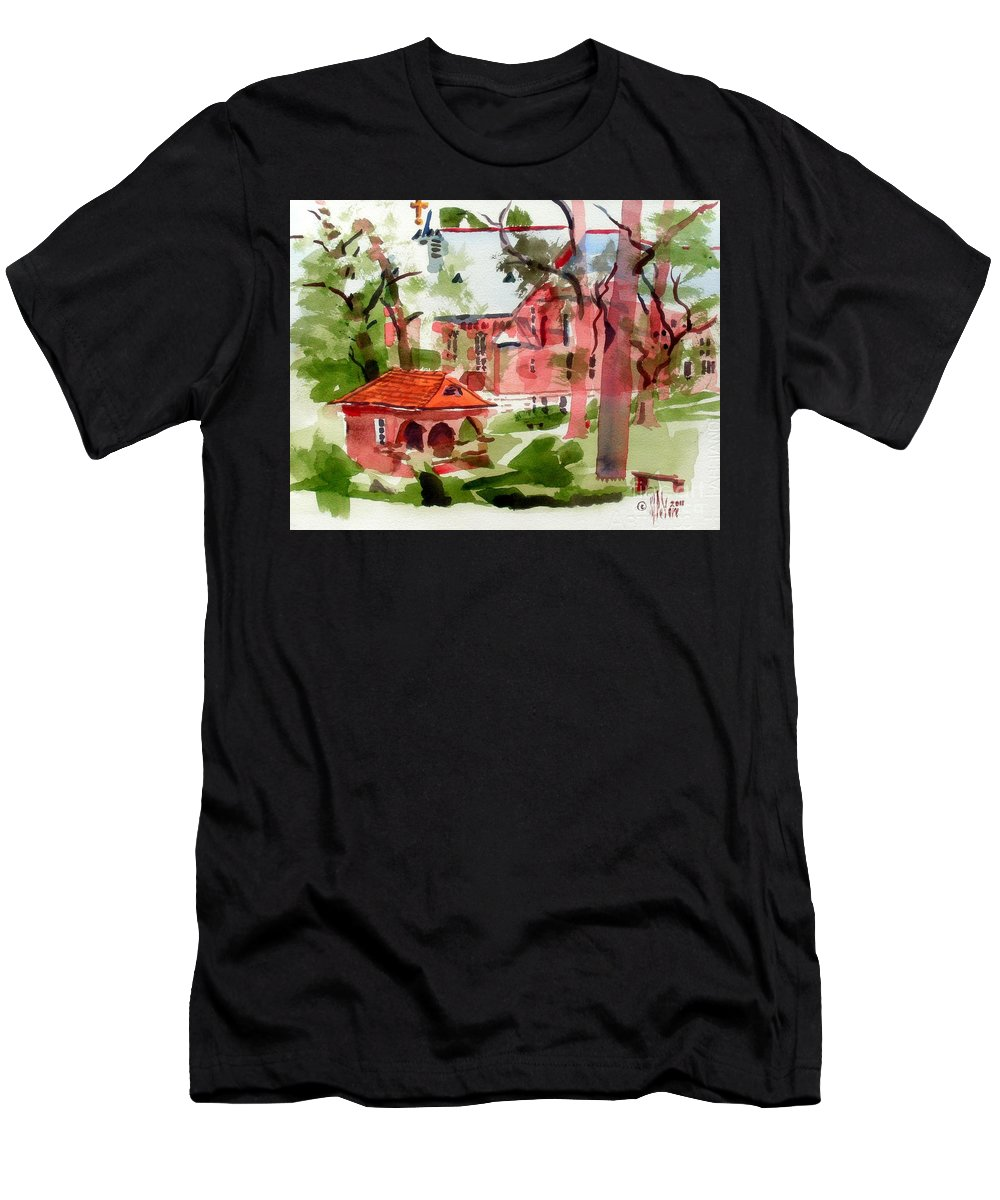 Lacy Spring Greens At Ursuline Academy Men's T-Shirt (Athletic Fit) featuring the painting Lacy Spring Greens At Ursuline Academy by Kip DeVore