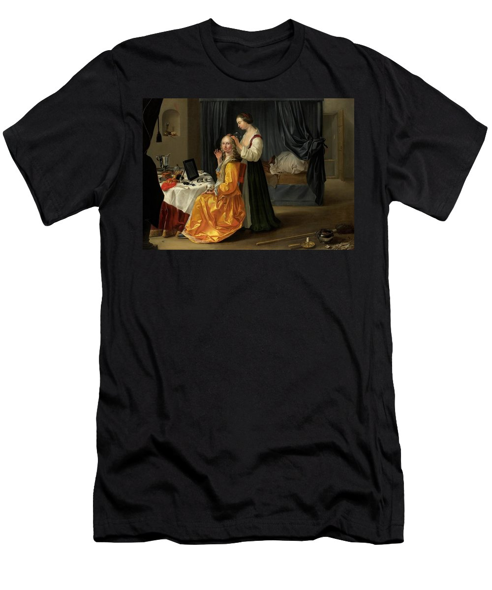 Lady Men's T-Shirt (Athletic Fit) featuring the painting Lady At Her Toilet by Netherlandish School