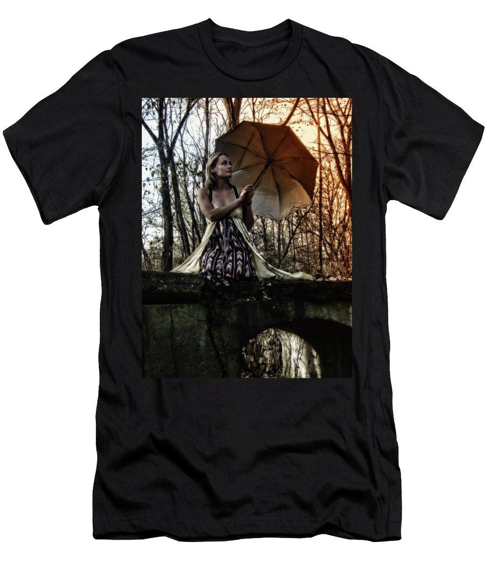 Bridges Men's T-Shirt (Athletic Fit) featuring the photograph Lady Rain by Kristie Bonnewell