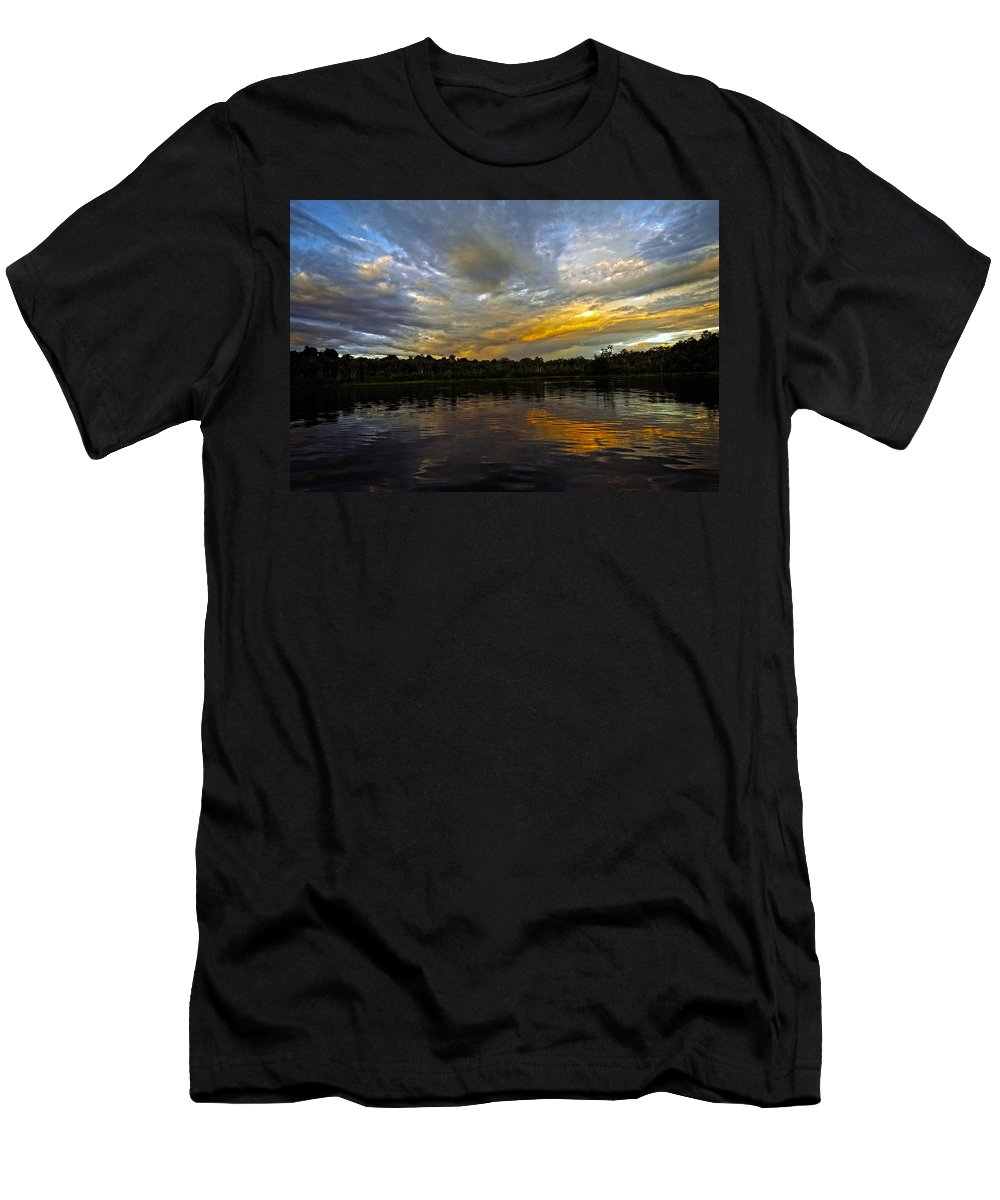 Sunset Men's T-Shirt (Athletic Fit) featuring the photograph Lagoon Sunset In The Jungle by Kurt Van Wagner