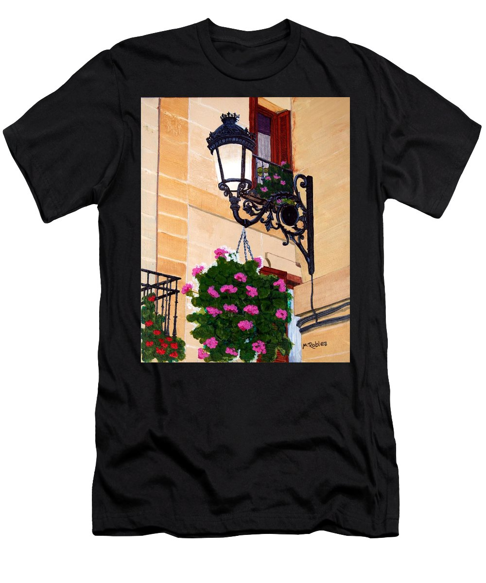 Street Lamp Men's T-Shirt (Athletic Fit) featuring the painting Laguardia Street Lamp by Mike Robles