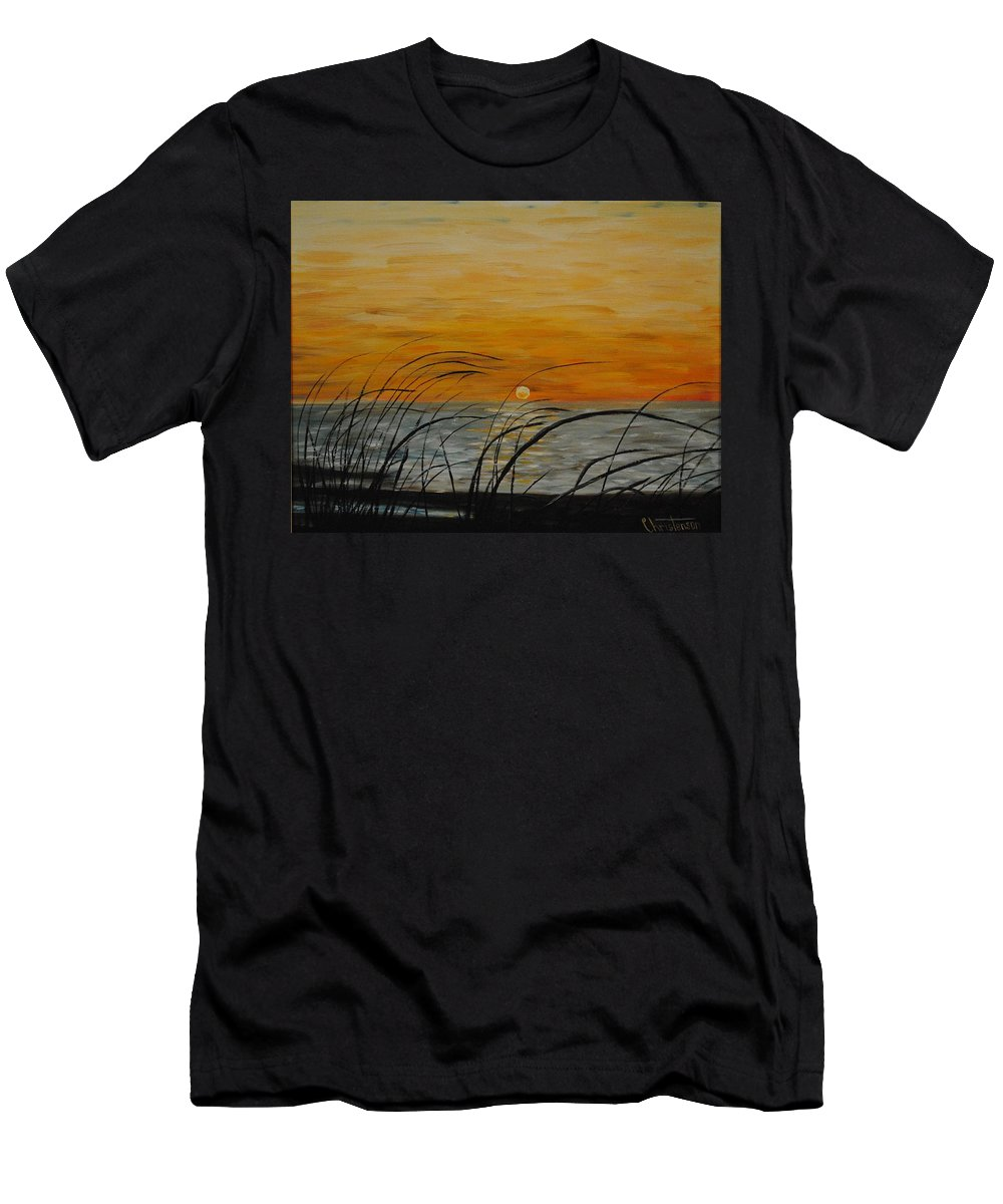 Sunset Men's T-Shirt (Athletic Fit) featuring the painting Laguna Madre Sunset by Joe Christenson