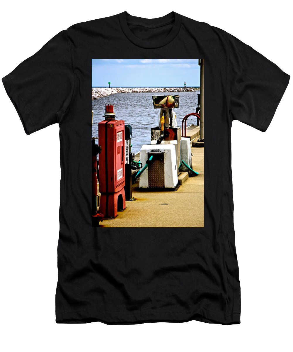 Lakefront Men's T-Shirt (Athletic Fit) featuring the photograph Lake Gas Depot by Debbie Nobile