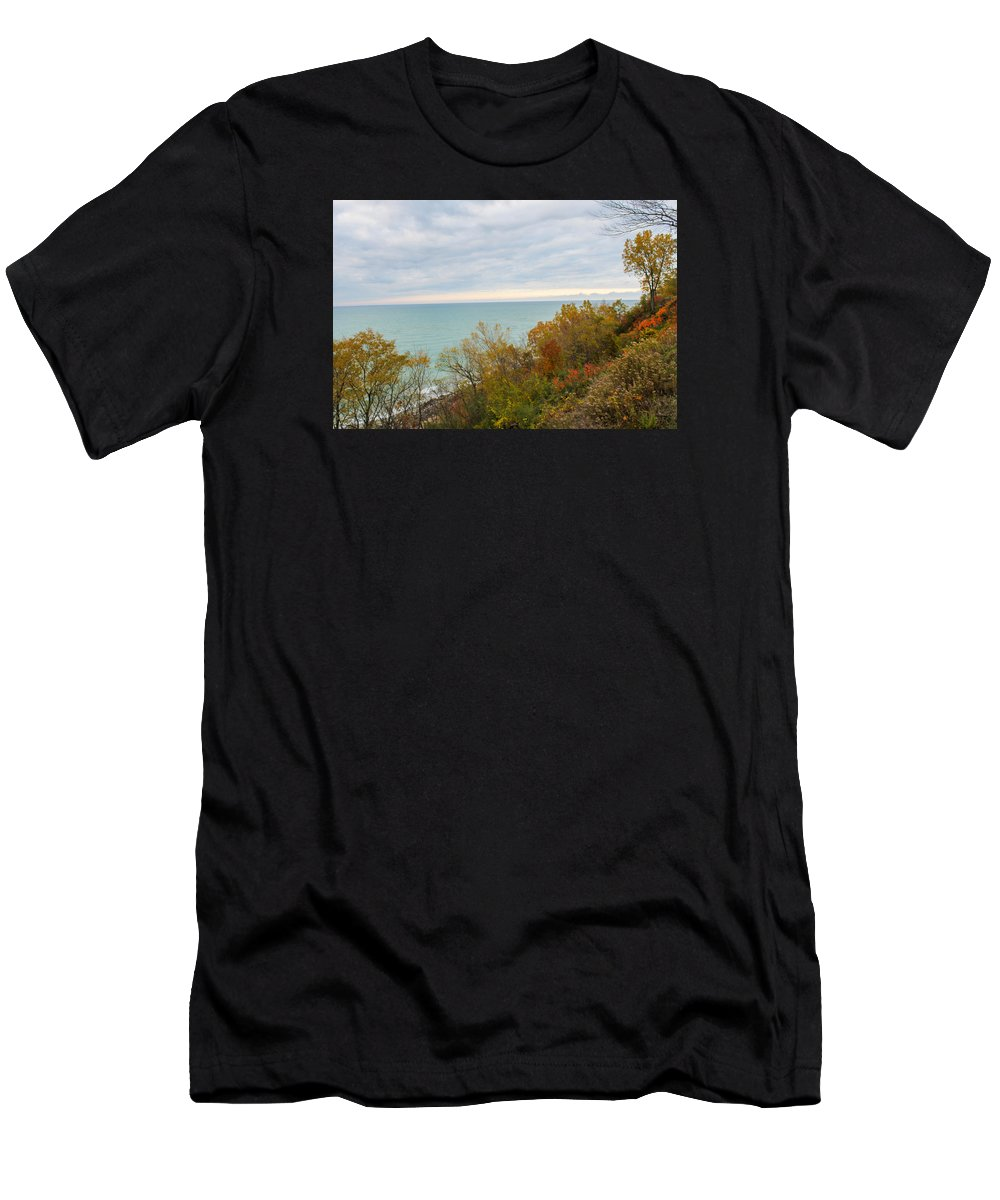 St. Joseph Michigan Men's T-Shirt (Athletic Fit) featuring the photograph Lake Michigan Fall by Harold Hopkins