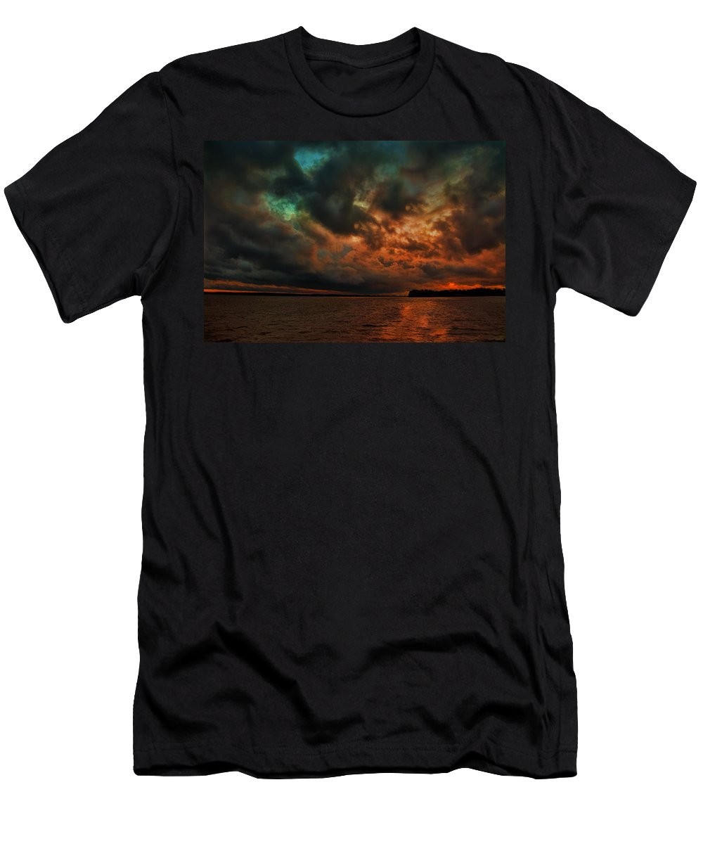 Lake Murray Men's T-Shirt (Athletic Fit) featuring the painting Lake Murray Fire Sky by Steven Richardson