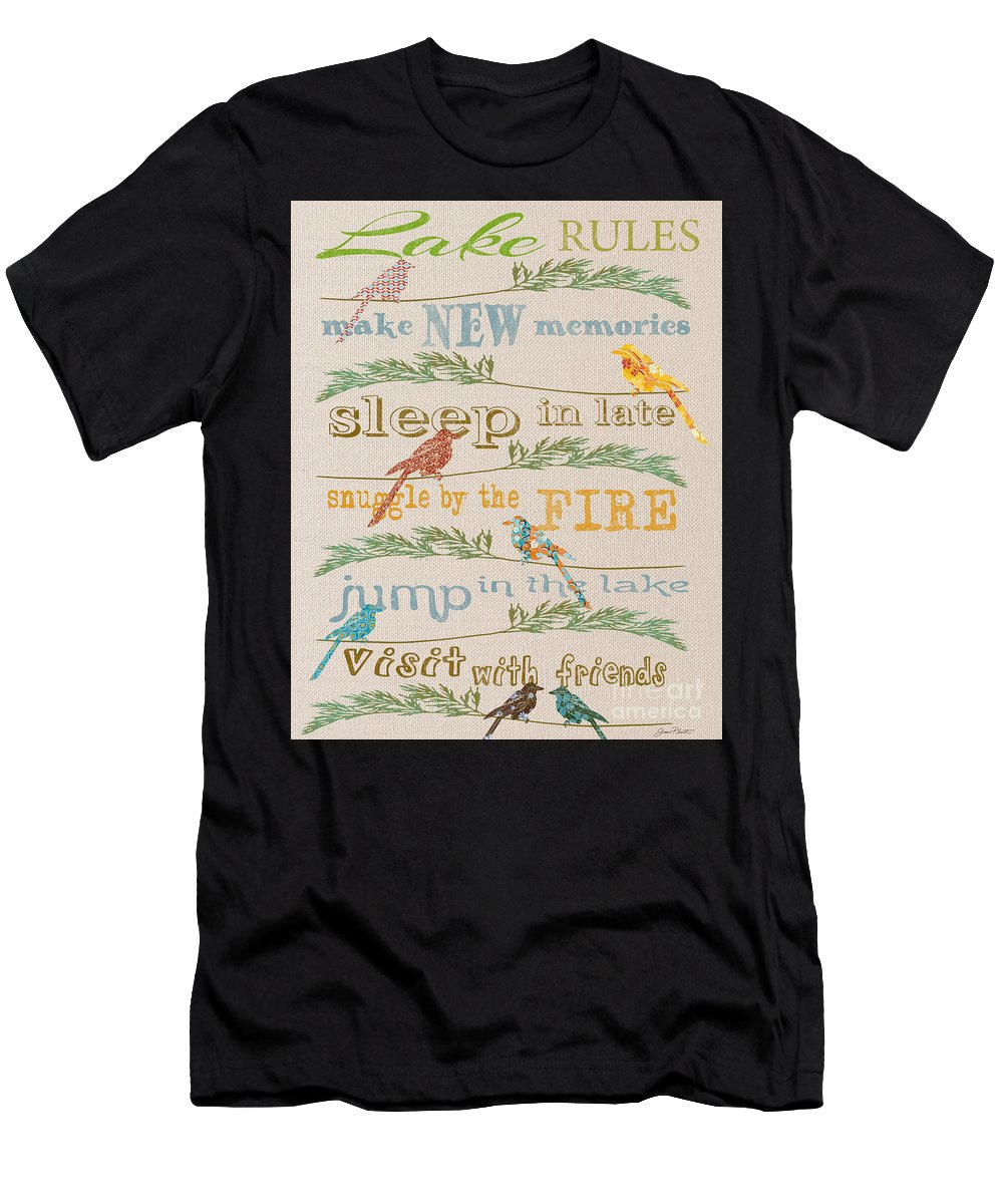 Digital Art Men's T-Shirt (Athletic Fit) featuring the digital art Lake Rules With Birds-c by Jean Plout