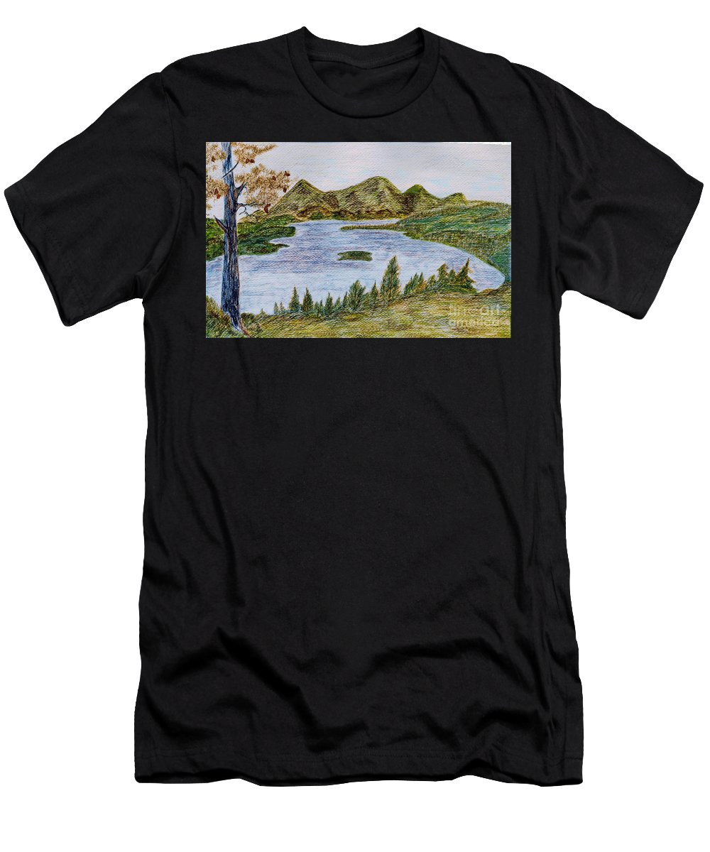Landscape - Lake Tahoe Ca - Drawing Waterscape Scenery Trees Mountains Pine Tree; Black Brown Green Blue Orange Yellow Island Pinecones; Watercolor Ink Bushes; Mixed Media Men's T-Shirt (Athletic Fit) featuring the painting Lake Tahoe by Myrtle Joy