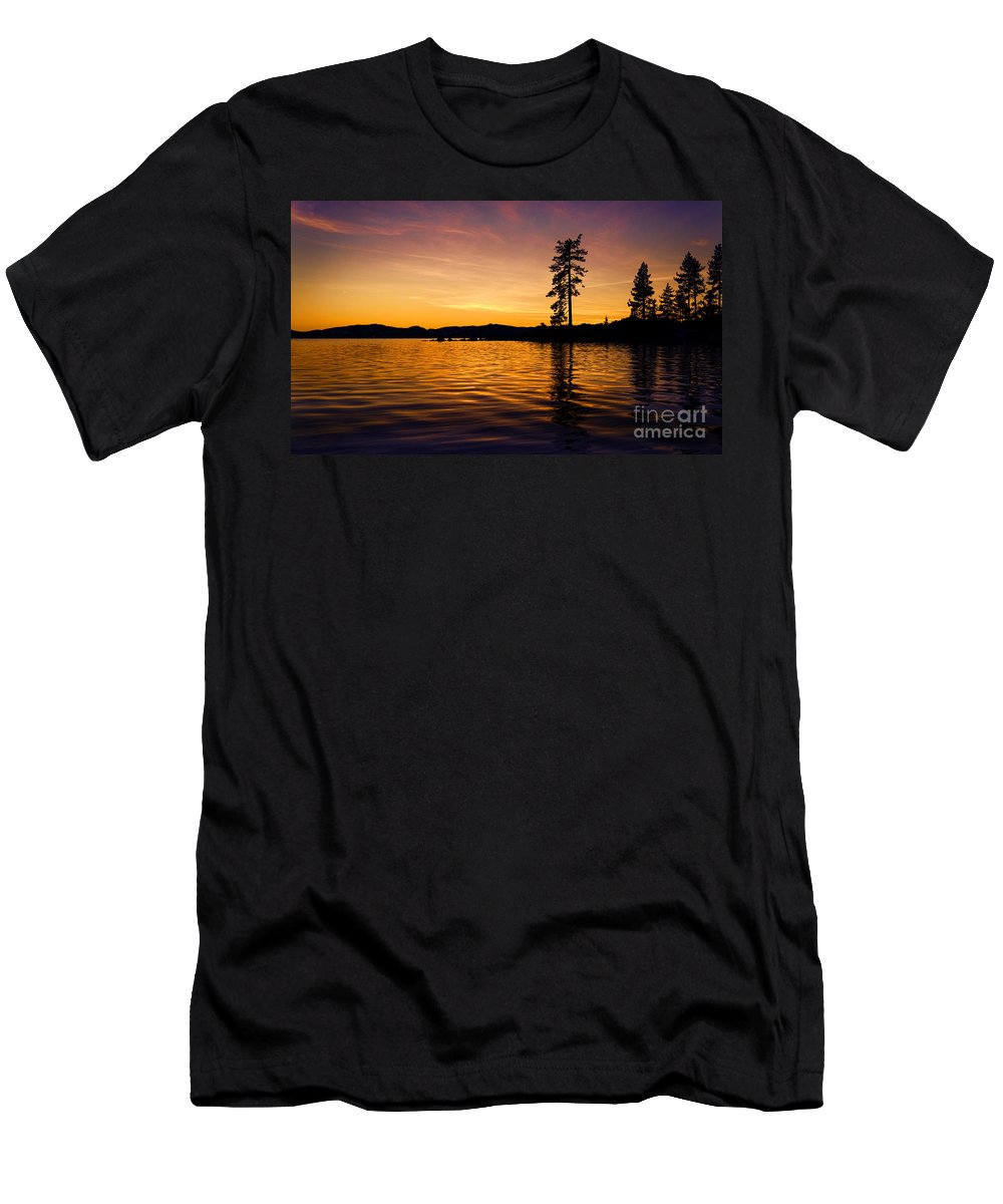 Lake Men's T-Shirt (Athletic Fit) featuring the photograph Lake Tahoe Sunset by Dianne Phelps