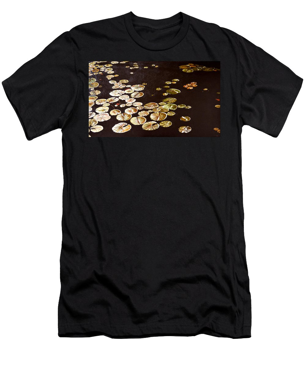 Lily Pad Men's T-Shirt (Athletic Fit) featuring the painting Lake Washington Lily Pad 10 by Thu Nguyen