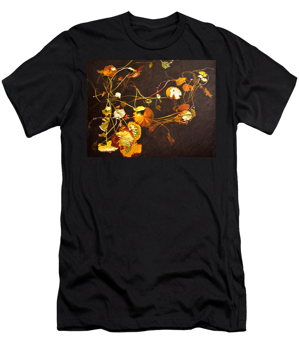 Waterlily Men's T-Shirt (Athletic Fit) featuring the painting Lake Washington Lily Pad 14 by Thu Nguyen