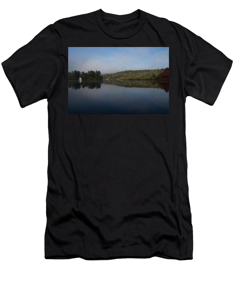 Lakeside Living Men's T-Shirt (Athletic Fit) featuring the photograph Lakeside Cottage Living - Gentle Morning Fog by Georgia Mizuleva