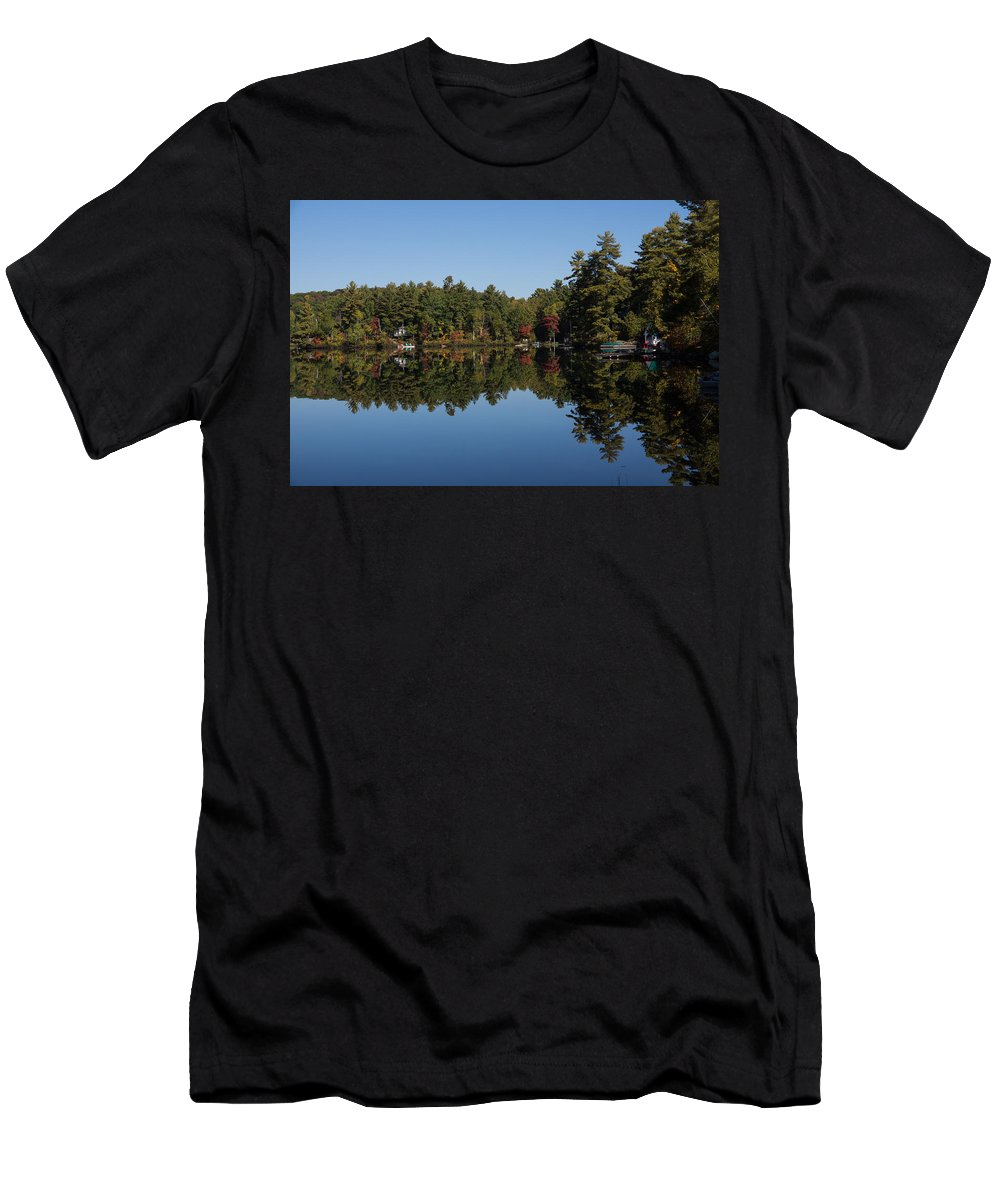 Lakeside Living Men's T-Shirt (Athletic Fit) featuring the photograph Lakeside Cottage Living - Reflecting On Relaxation by Georgia Mizuleva