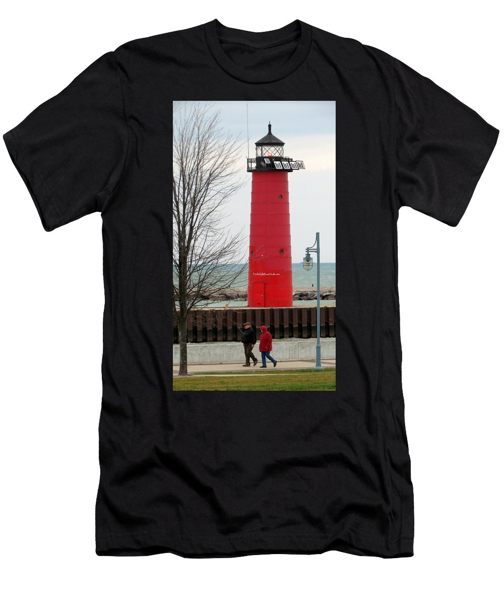 Strolling Couple Men's T-Shirt (Athletic Fit) featuring the photograph Lakeside Stroll by Kay Novy